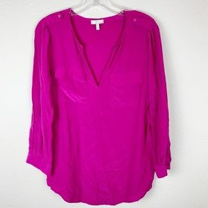 JOIE Bright Pink Silk V Neck Top Small C119